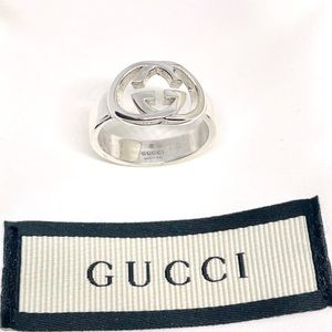 New Authentic Gucci GG Sterling Silver Ring Size 5